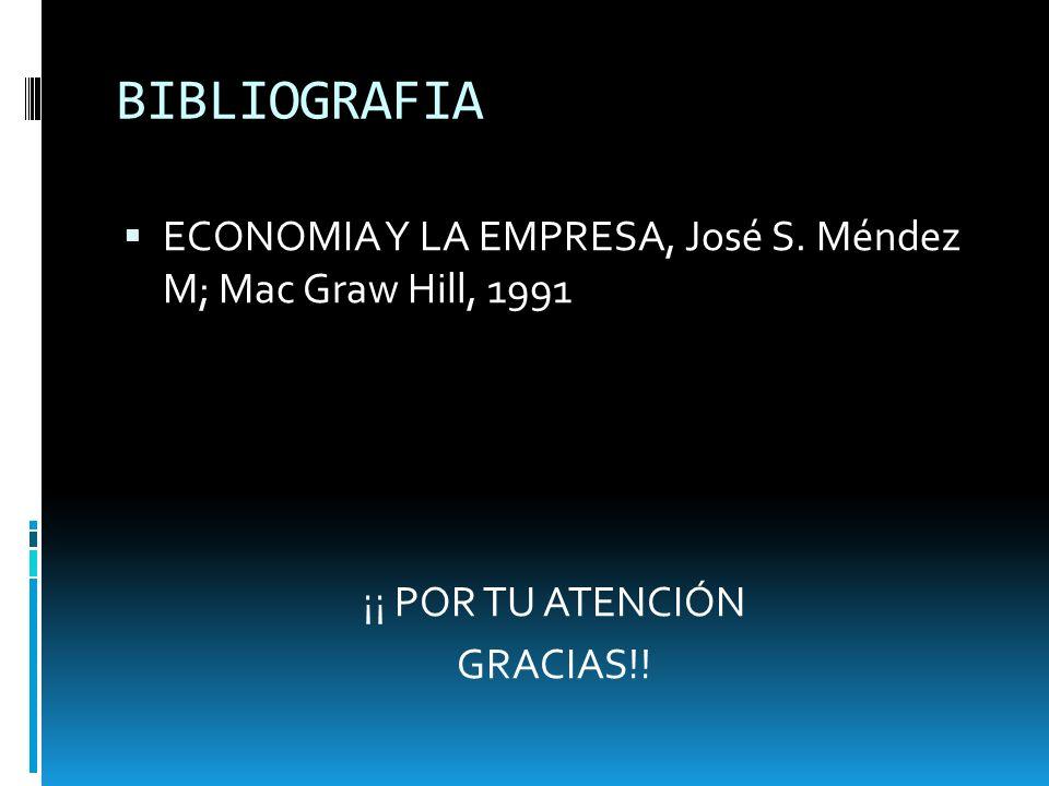 BIBLIOGRAFIA ECONOMIA Y LA EMPRESA, José S. Méndez M; Mac Graw Hill, 1991.