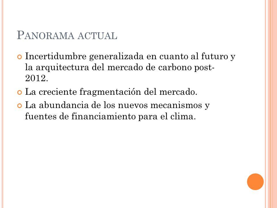 Panorama actual Incertidumbre generalizada en cuanto al futuro y la arquitectura del mercado de carbono post- 2012.