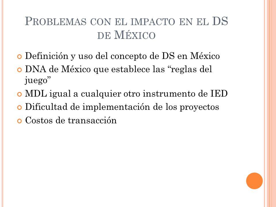 Problemas con el impacto en el DS de México