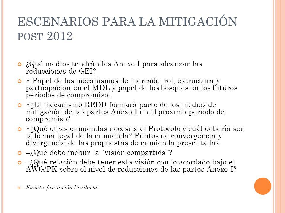 ESCENARIOS PARA LA MITIGACIÓN post 2012