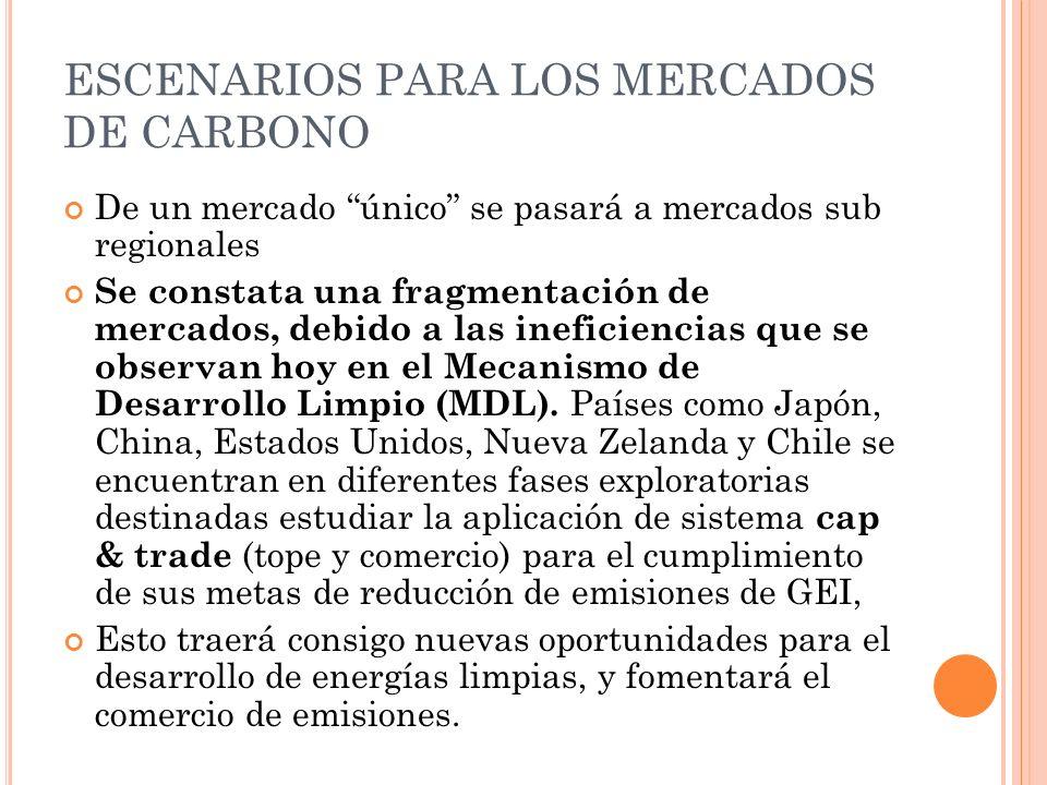 ESCENARIOS PARA LOS MERCADOS DE CARBONO