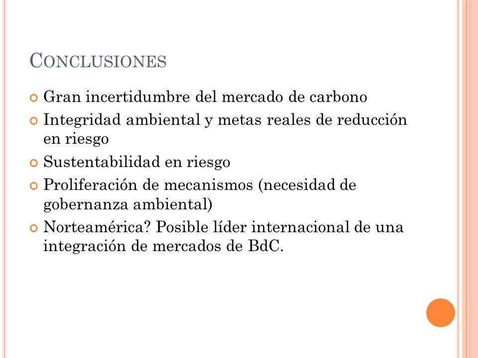 Conclusiones Gran incertidumbre del mercado de carbono