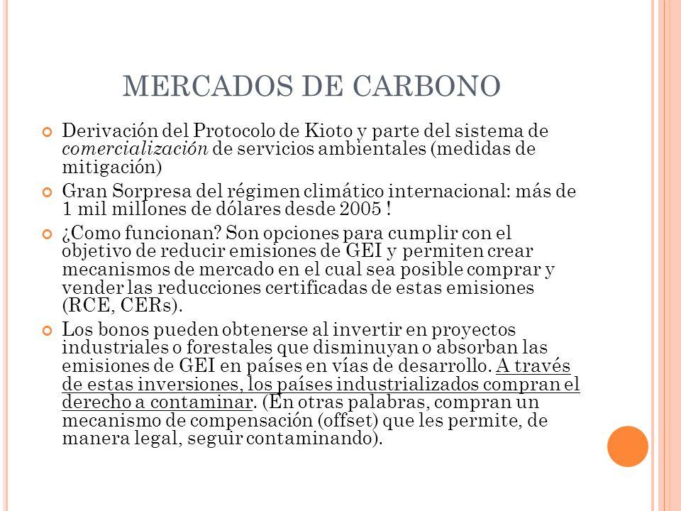 MERCADOS DE CARBONO Derivación del Protocolo de Kioto y parte del sistema de comercialización de servicios ambientales (medidas de mitigación)