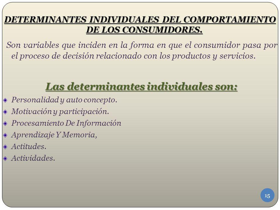 DETERMINANTES INDIVIDUALES DEL COMPORTAMIENTO DE LOS CONSUMIDORES.