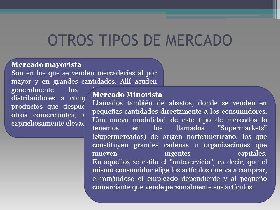 OTROS TIPOS DE MERCADO Mercado mayorista