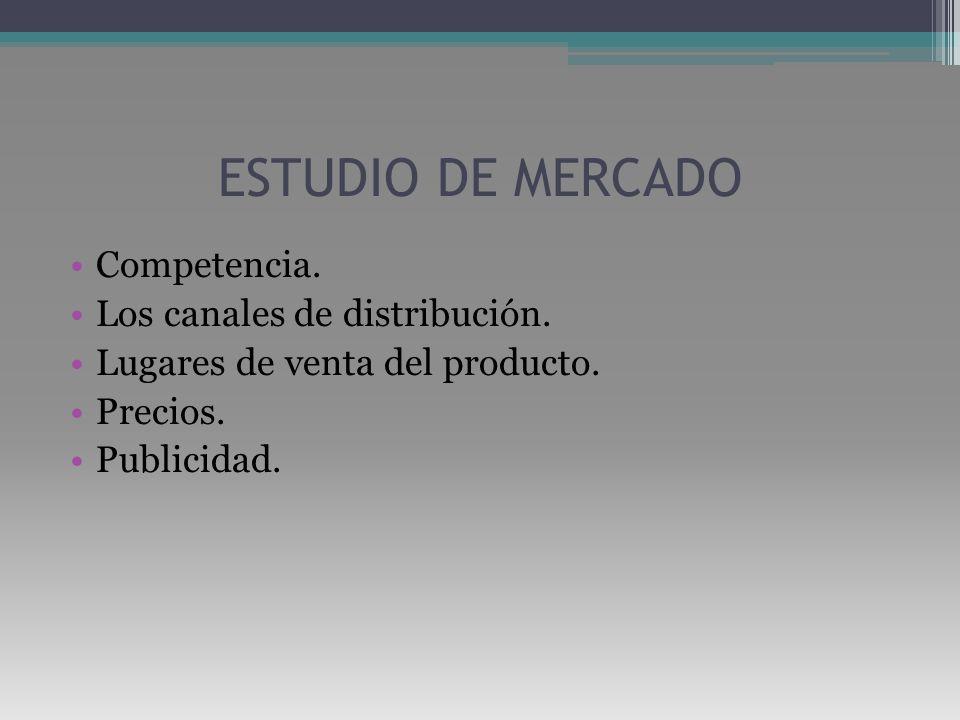 ESTUDIO DE MERCADO Competencia. Los canales de distribución.