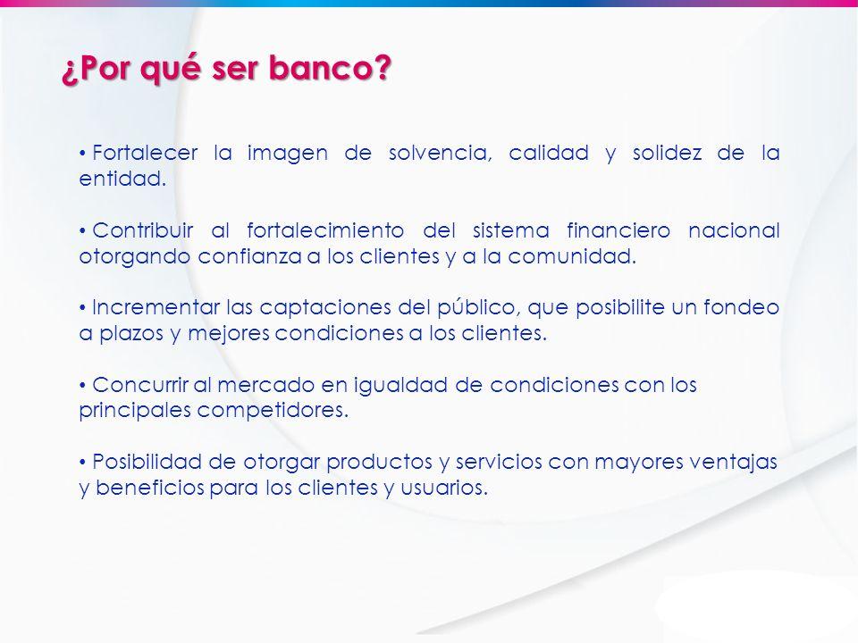 ¿Por qué ser banco Fortalecer la imagen de solvencia, calidad y solidez de la entidad.