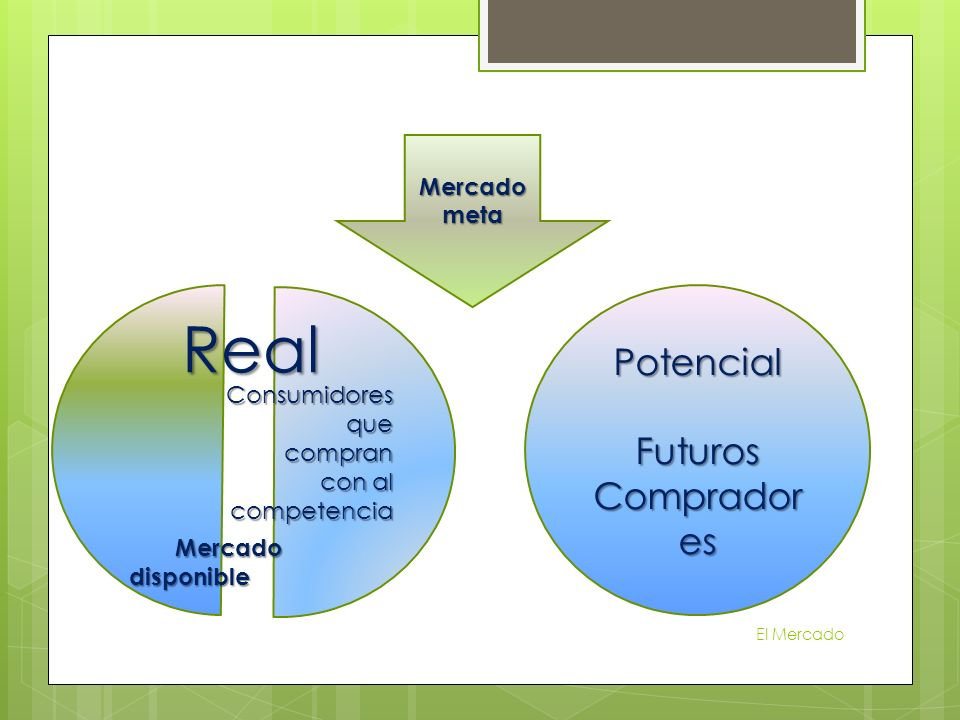 Real Potencial Futuros Compradores Mercado disponible Mercado meta