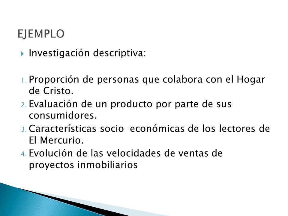 EJEMPLO Investigación descriptiva: