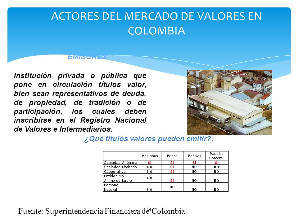 ACTORES DEL MERCADO DE VALORES EN COLOMBIA