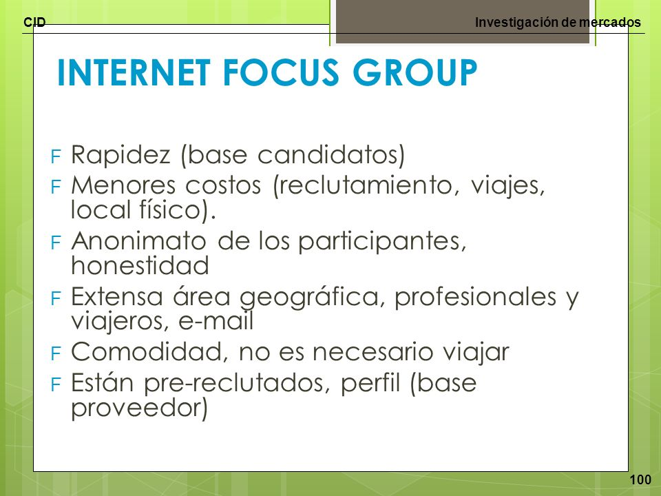 INTERNET FOCUS GROUP Rapidez (base candidatos)