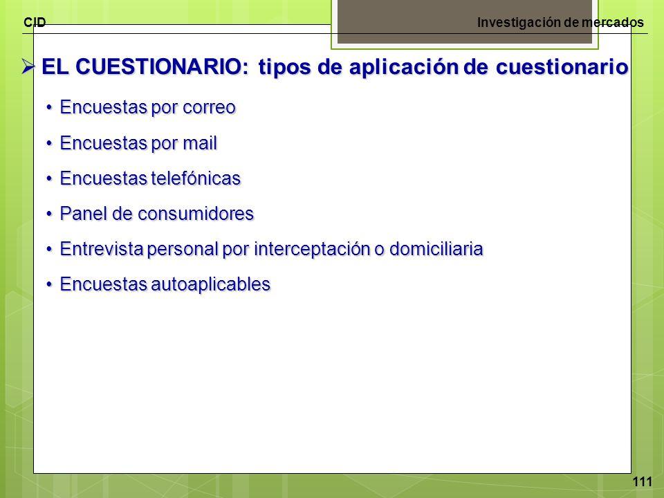EL CUESTIONARIO: tipos de aplicación de cuestionario