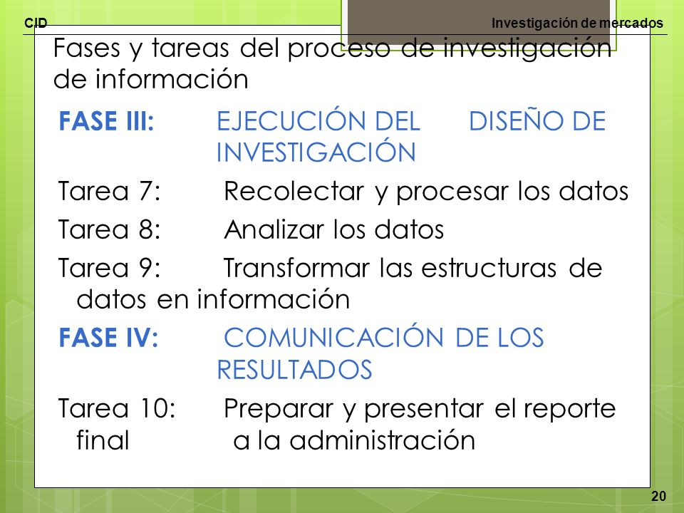 Fases y tareas del proceso de investigación de información