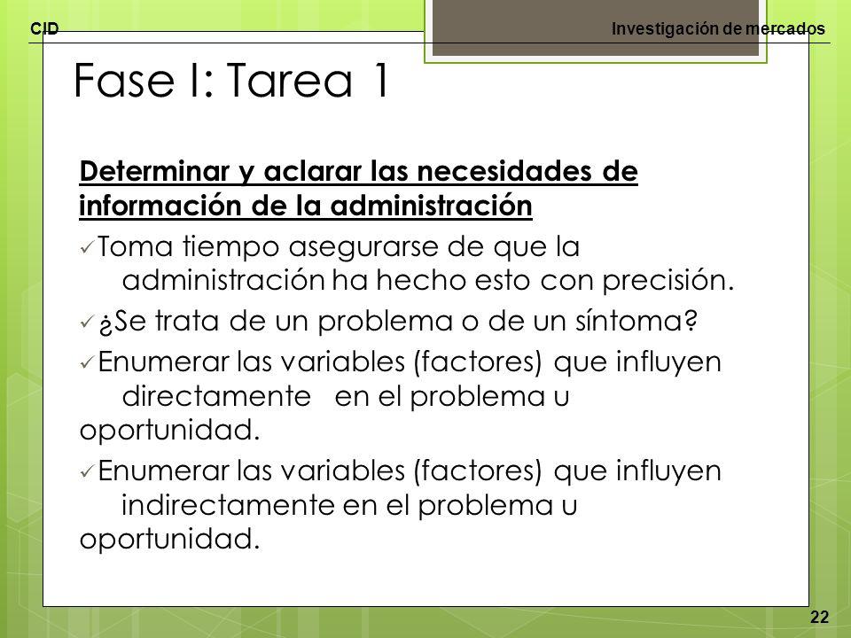 Fase I: Tarea 1 Determinar y aclarar las necesidades de información de la administración.