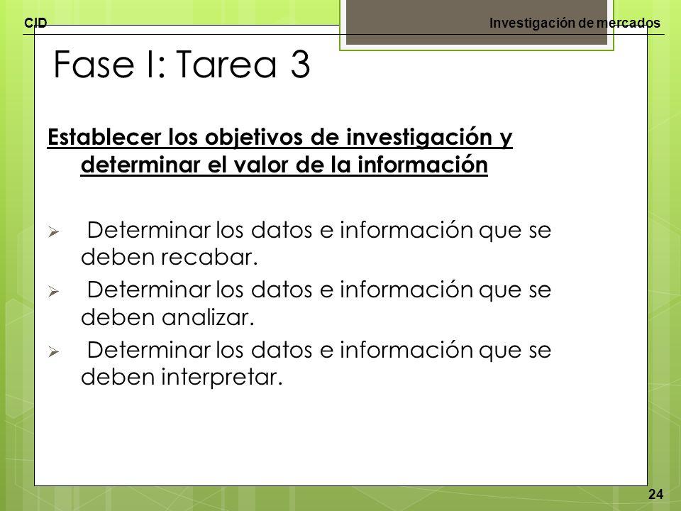 Fase I: Tarea 3 Establecer los objetivos de investigación y determinar el valor de la información.