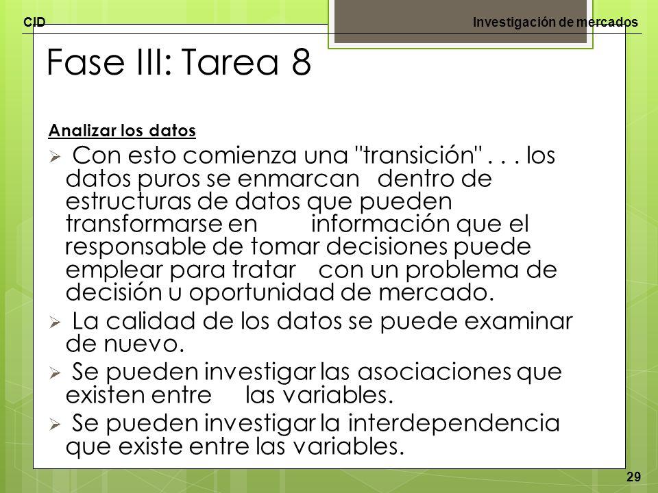 Fase III: Tarea 8 Analizar los datos.