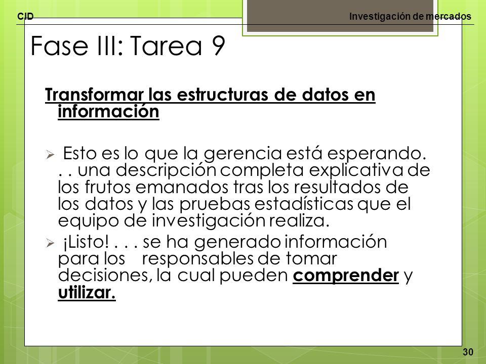Fase III: Tarea 9 Transformar las estructuras de datos en información