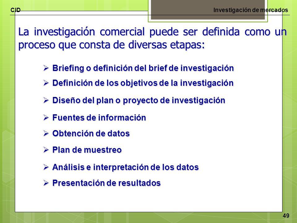 La investigación comercial puede ser definida como un proceso que consta de diversas etapas: