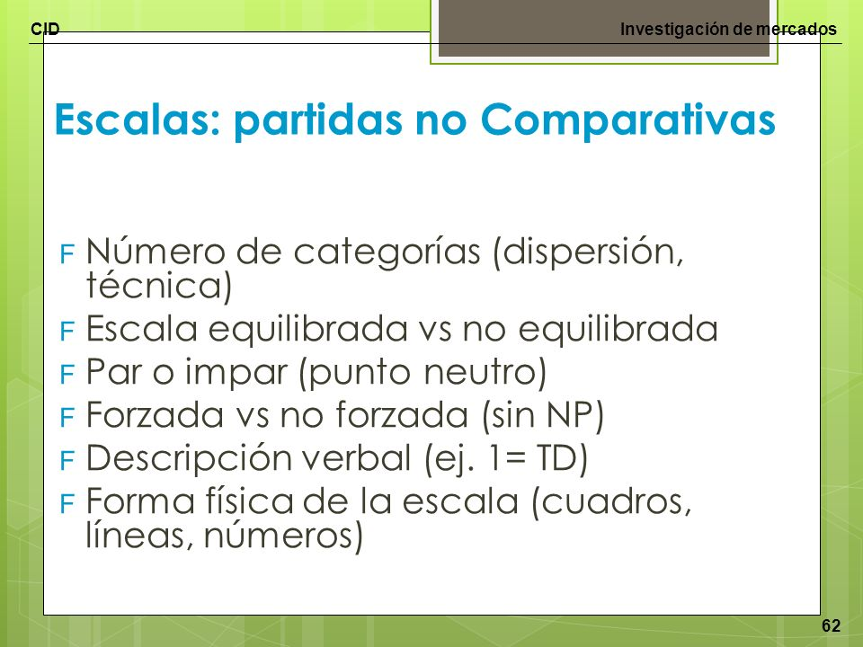 Escalas: partidas no Comparativas
