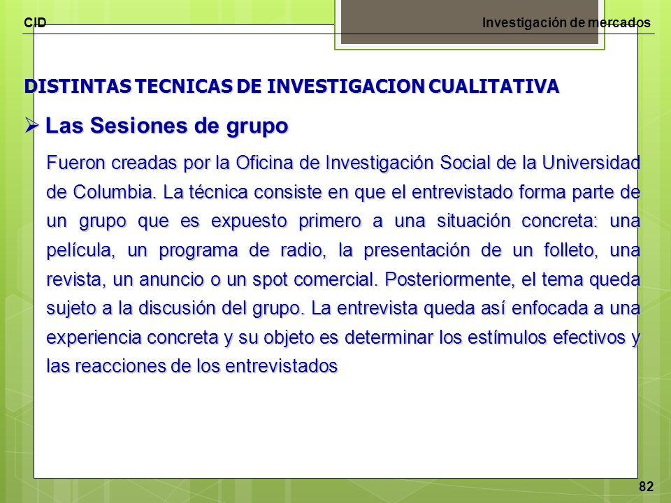 Las Sesiones de grupo DISTINTAS TECNICAS DE INVESTIGACION CUALITATIVA