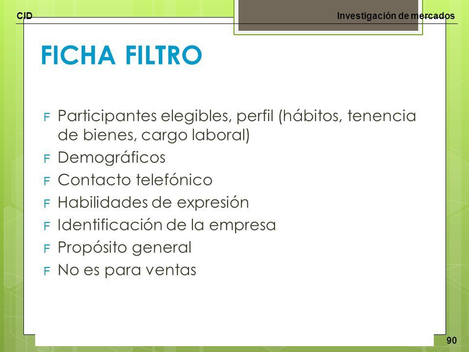 FICHA FILTRO Participantes elegibles, perfil (hábitos, tenencia de bienes, cargo laboral) Demográficos.