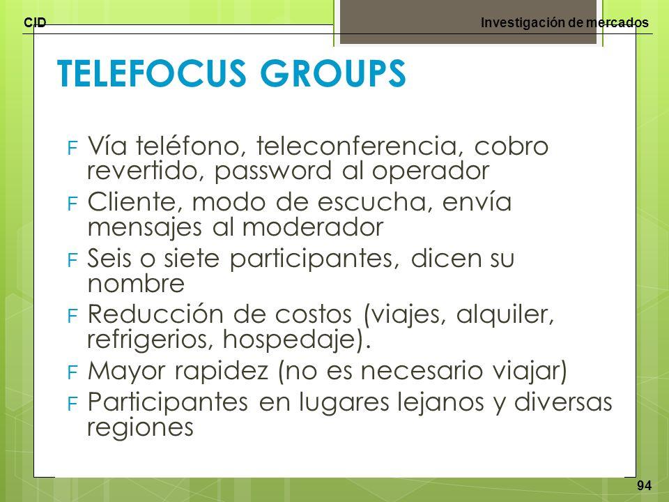 TELEFOCUS GROUPS Vía teléfono, teleconferencia, cobro revertido, password al operador. Cliente, modo de escucha, envía mensajes al moderador.
