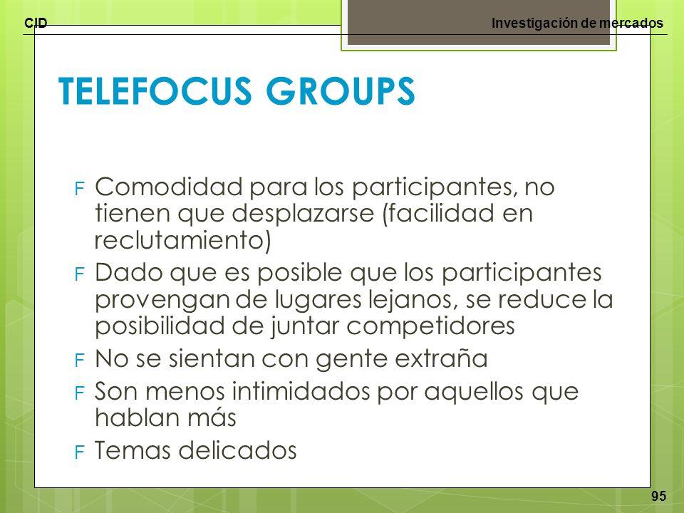 TELEFOCUS GROUPS Comodidad para los participantes, no tienen que desplazarse (facilidad en reclutamiento)