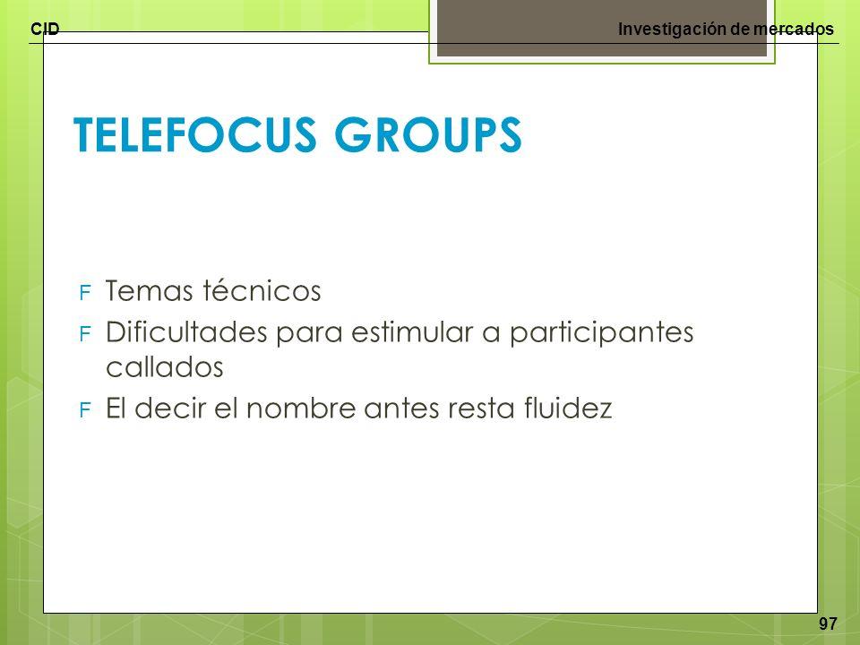 TELEFOCUS GROUPS Temas técnicos