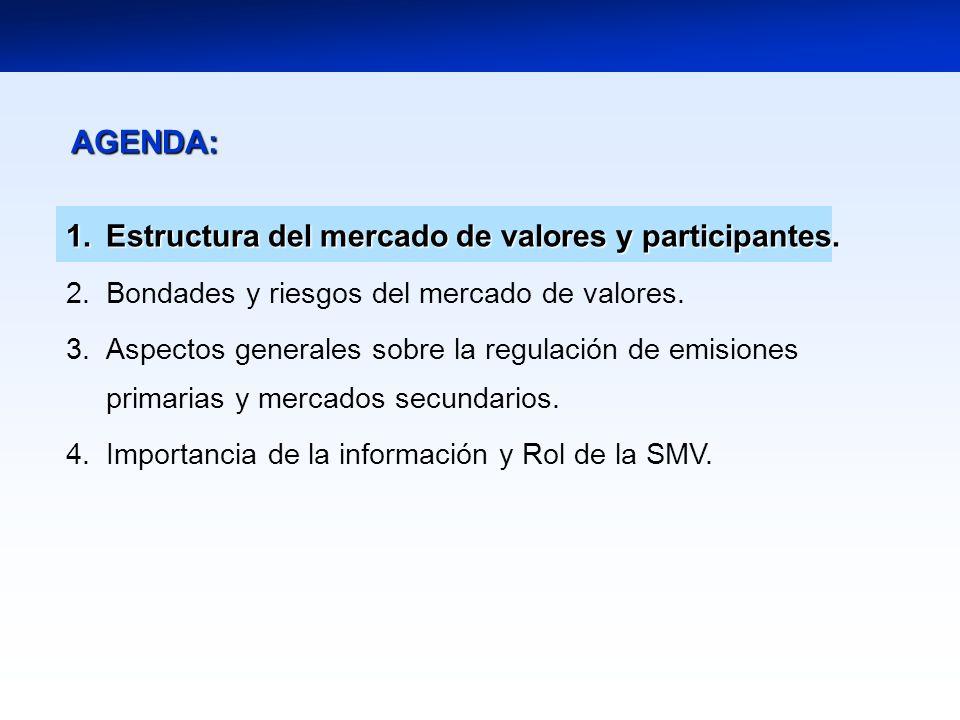 AGENDA: Estructura del mercado de valores y participantes.