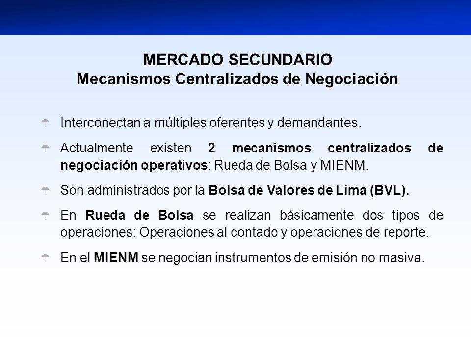 Mecanismos Centralizados de Negociación