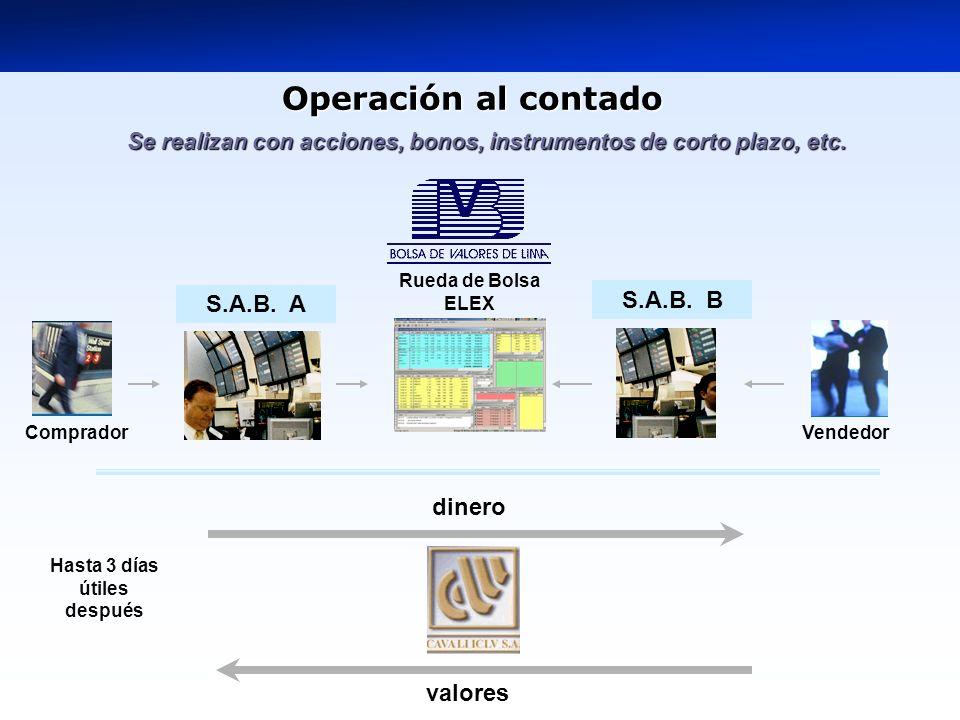 Operación al contado S.A.B. B S.A.B. A dinero valores