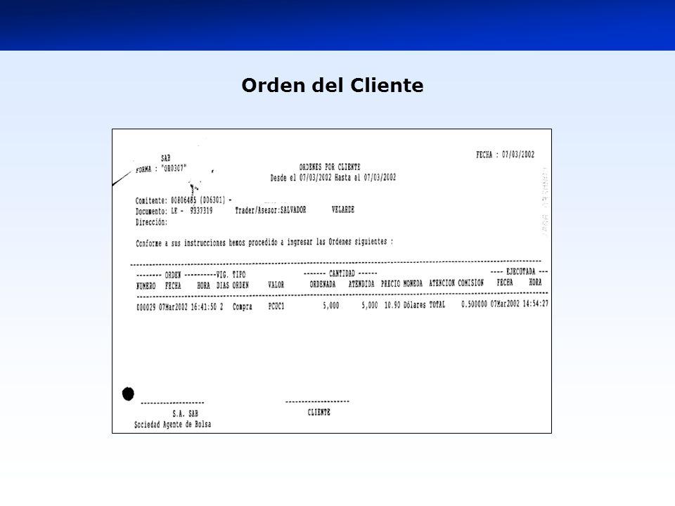 Orden del Cliente