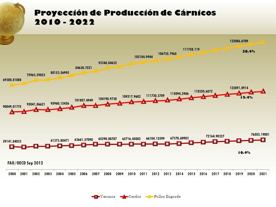 Proyección de Producción de Cárnicos 2010 - 2022