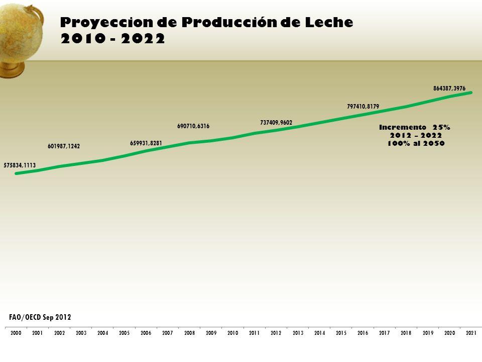 Proyeccion de Producción de Leche 2010 - 2022