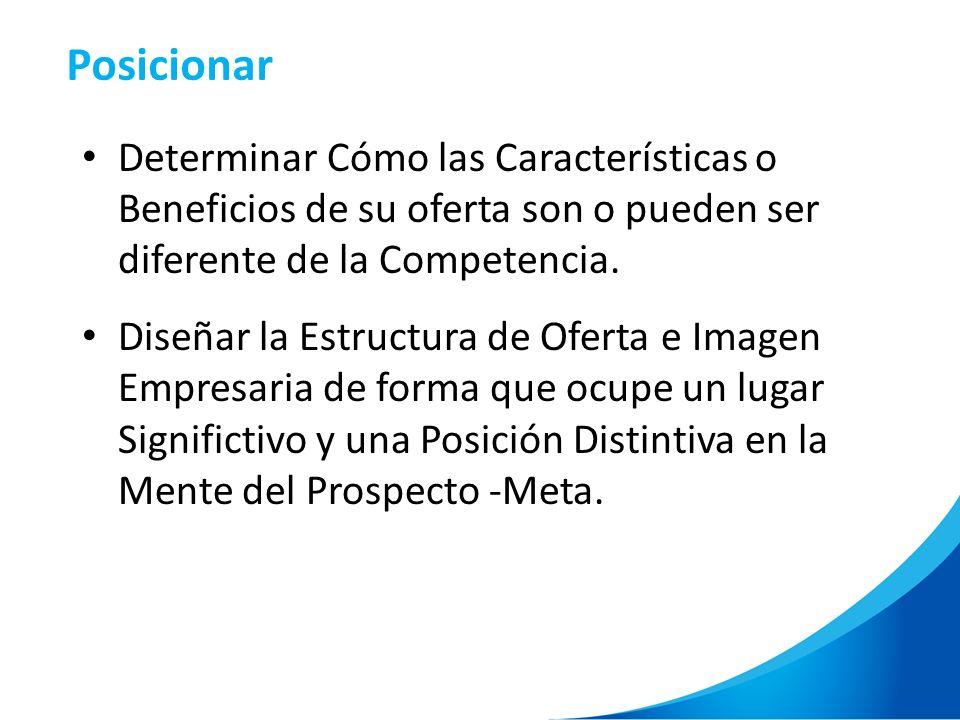 Posicionar Determinar Cómo las Características o Beneficios de su oferta son o pueden ser diferente de la Competencia.