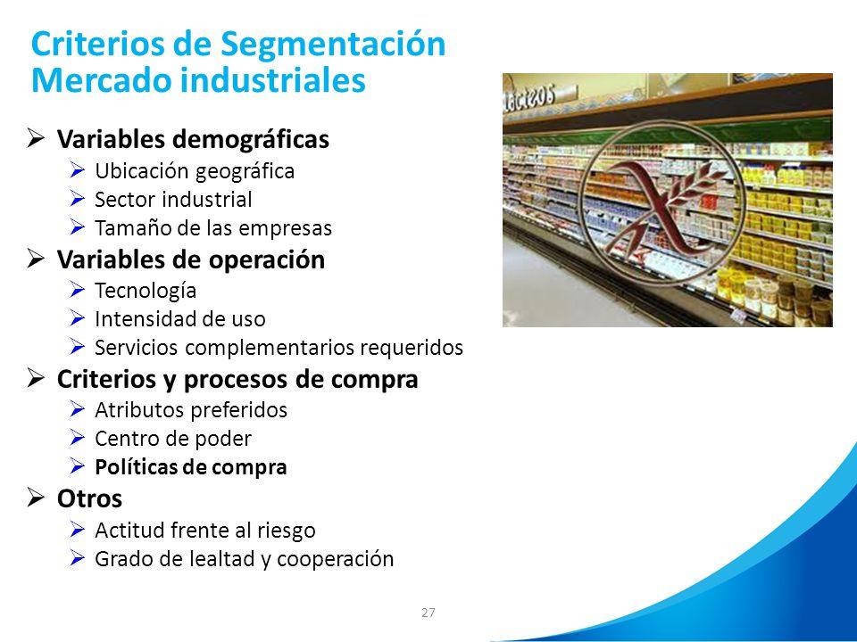 Criterios de Segmentación Mercado industriales