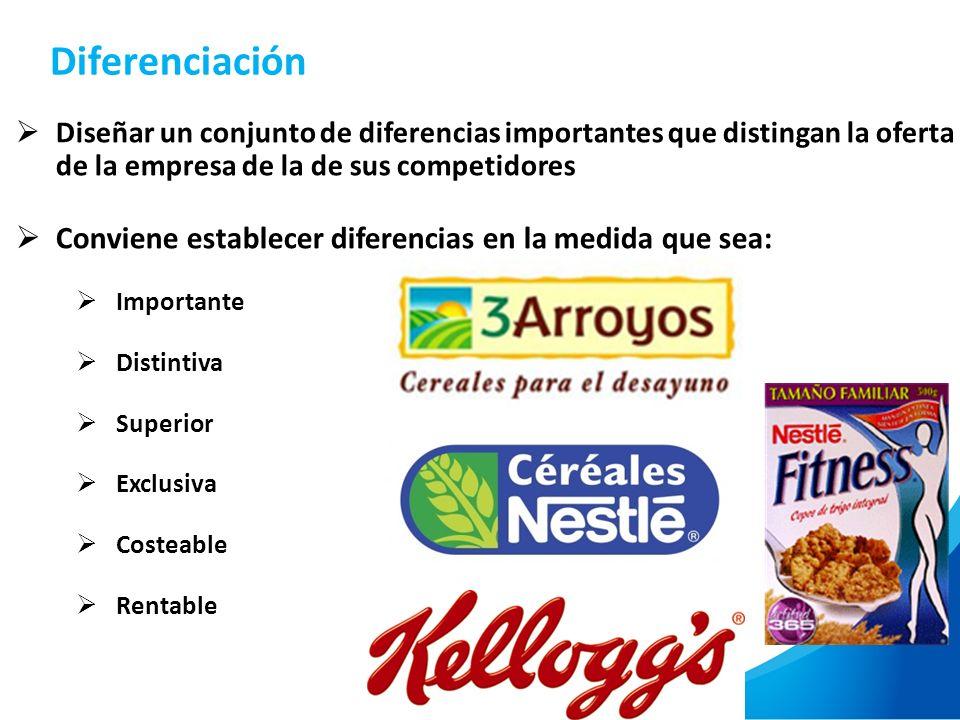 Diferenciación Conviene establecer diferencias en la medida que sea: