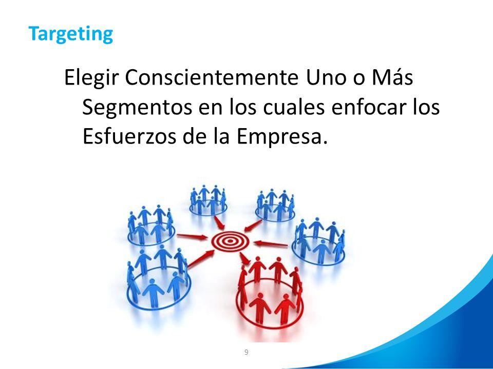 Targeting Elegir Conscientemente Uno o Más Segmentos en los cuales enfocar los Esfuerzos de la Empresa.
