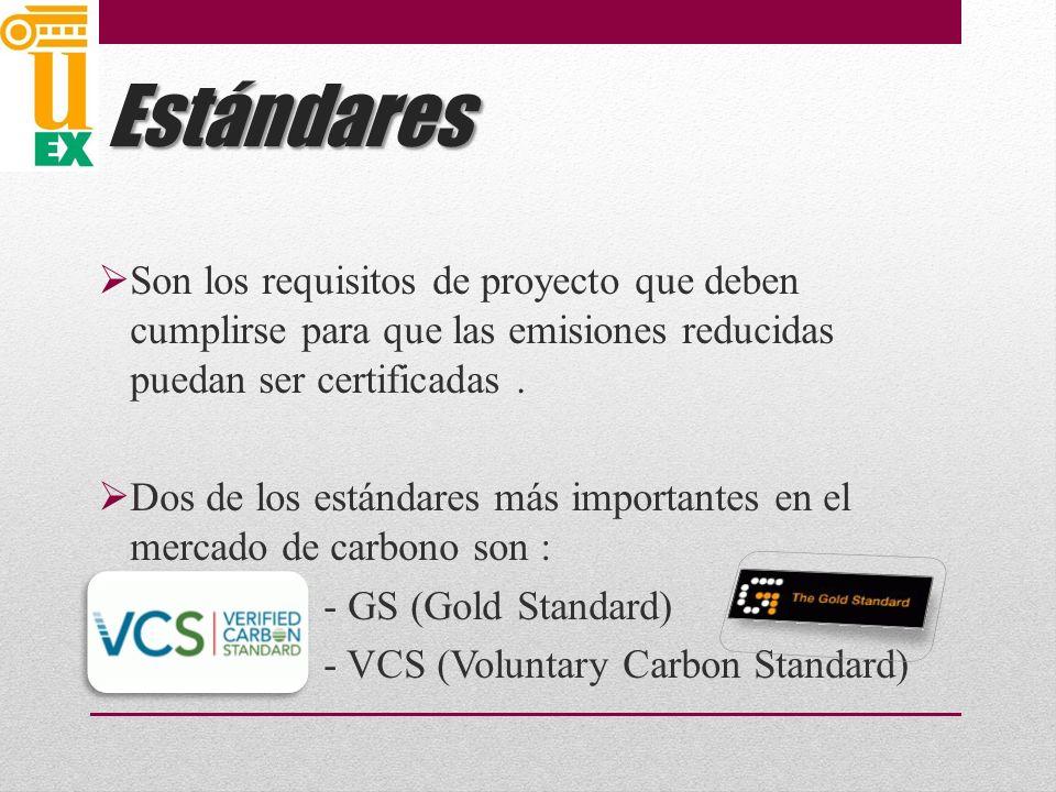 Estándares Son los requisitos de proyecto que deben cumplirse para que las emisiones reducidas puedan ser certificadas .
