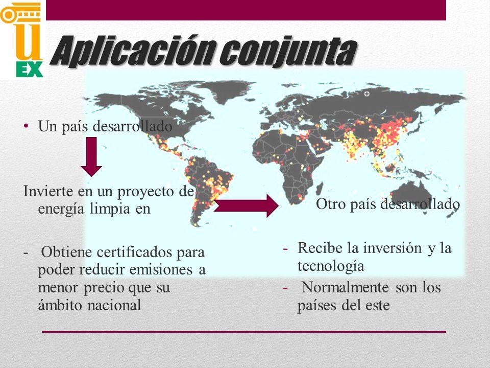 Aplicación conjunta Otro país desarrollado Un país desarrollado