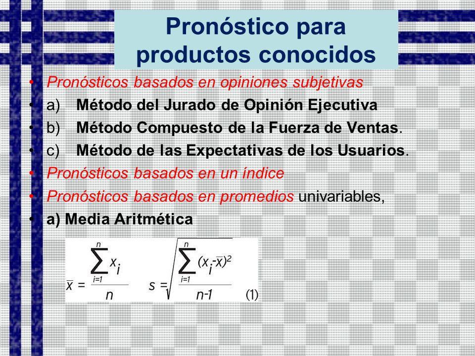 Pronóstico para productos conocidos