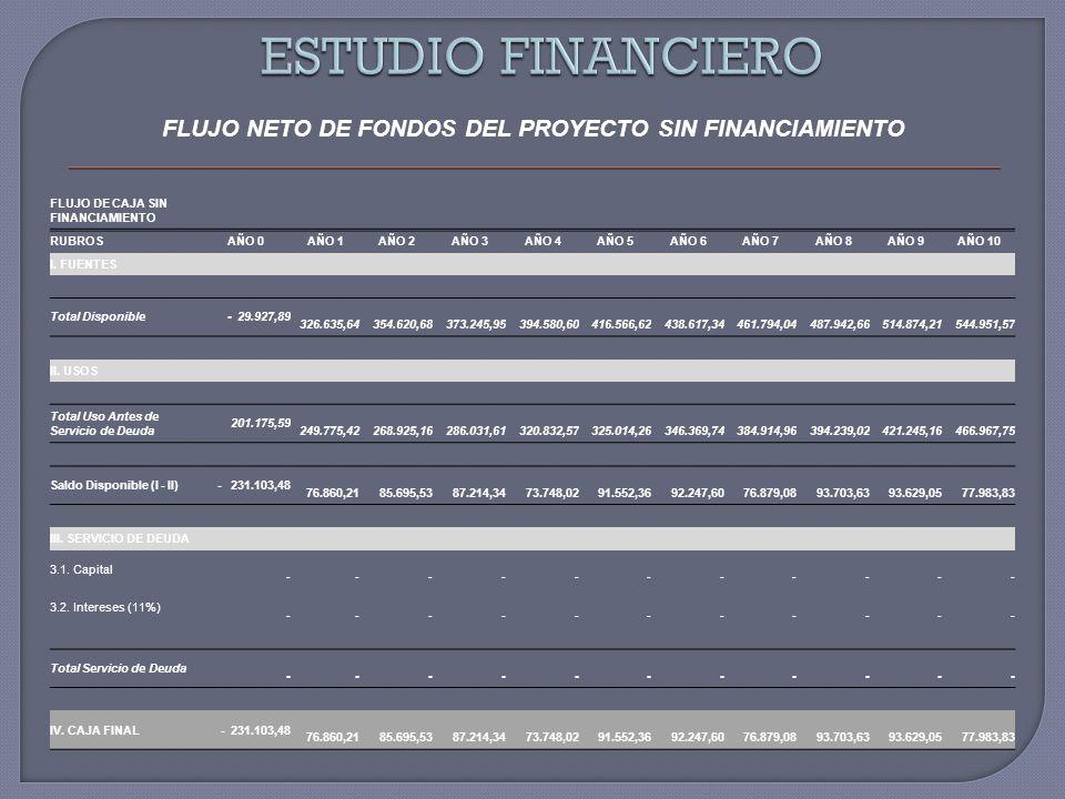 FLUJO NETO DE FONDOS DEL PROYECTO SIN FINANCIAMIENTO