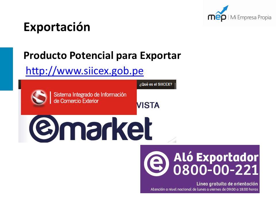 Exportación Producto Potencial para Exportar