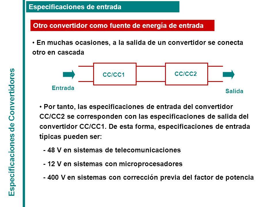 Especificaciones de Convertidores