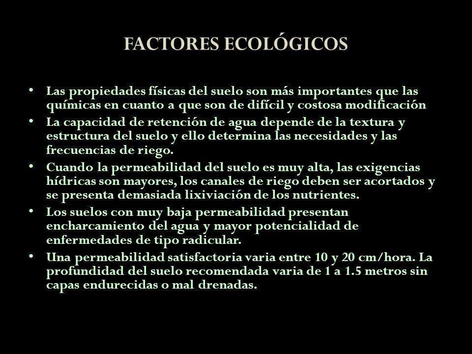 FACTORES ECOLÓGICOSLas propiedades físicas del suelo son más importantes que las químicas en cuanto a que son de difícil y costosa modificación.