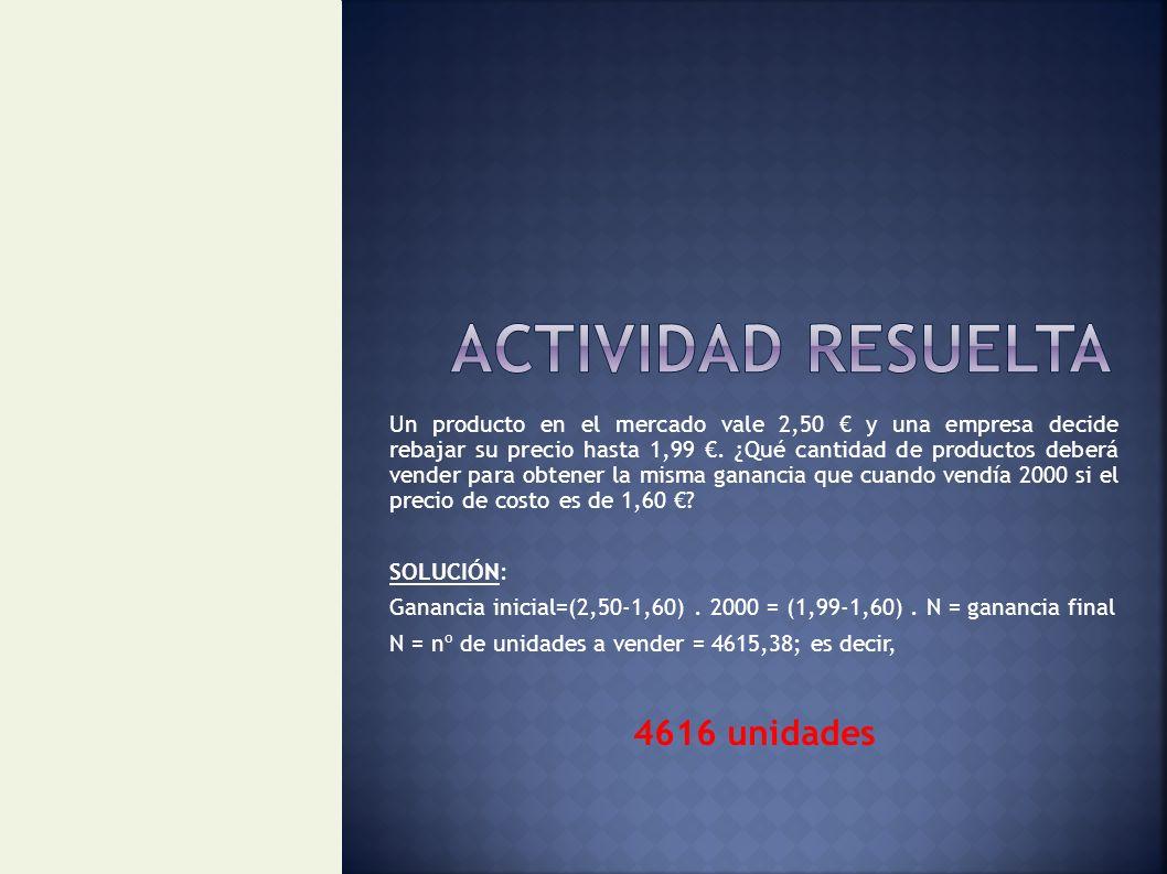 ACTIVIDAD RESUELTA 4616 unidades