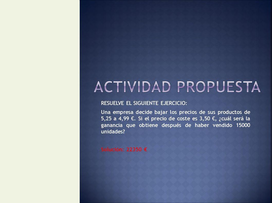 ACTIVIDAD PROPUESTA RESUELVE EL SIGUIENTE EJERCICIO:
