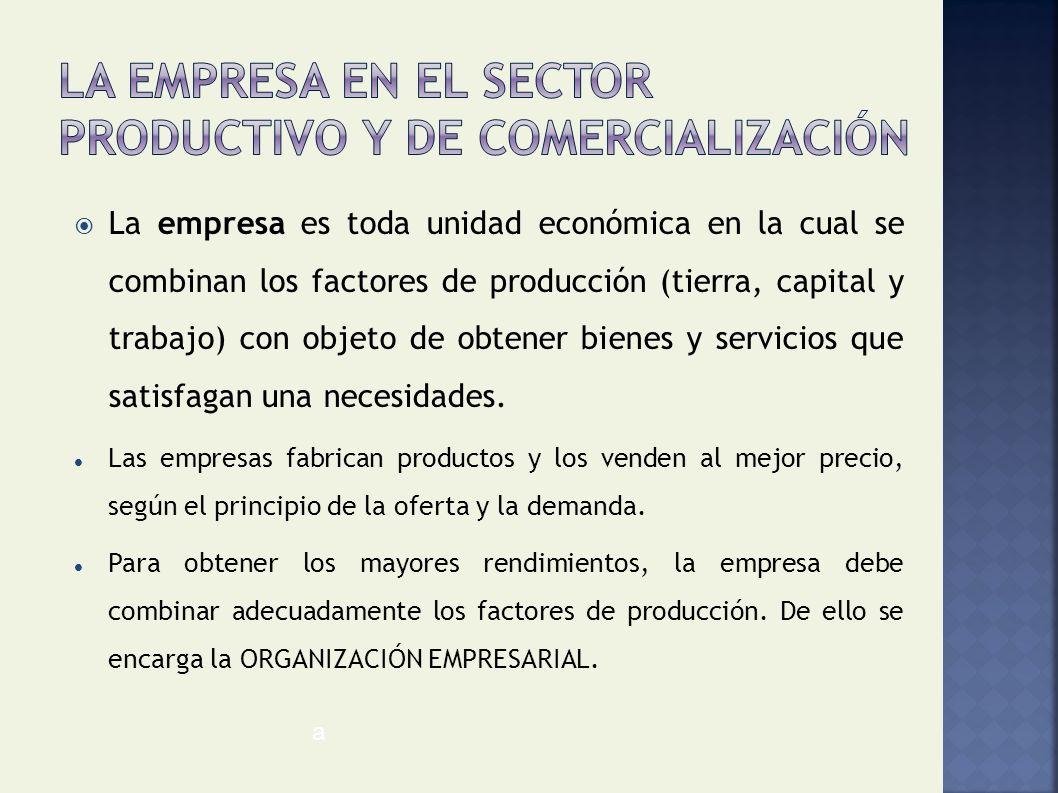 La empresa en el sector productivo y de comercialización