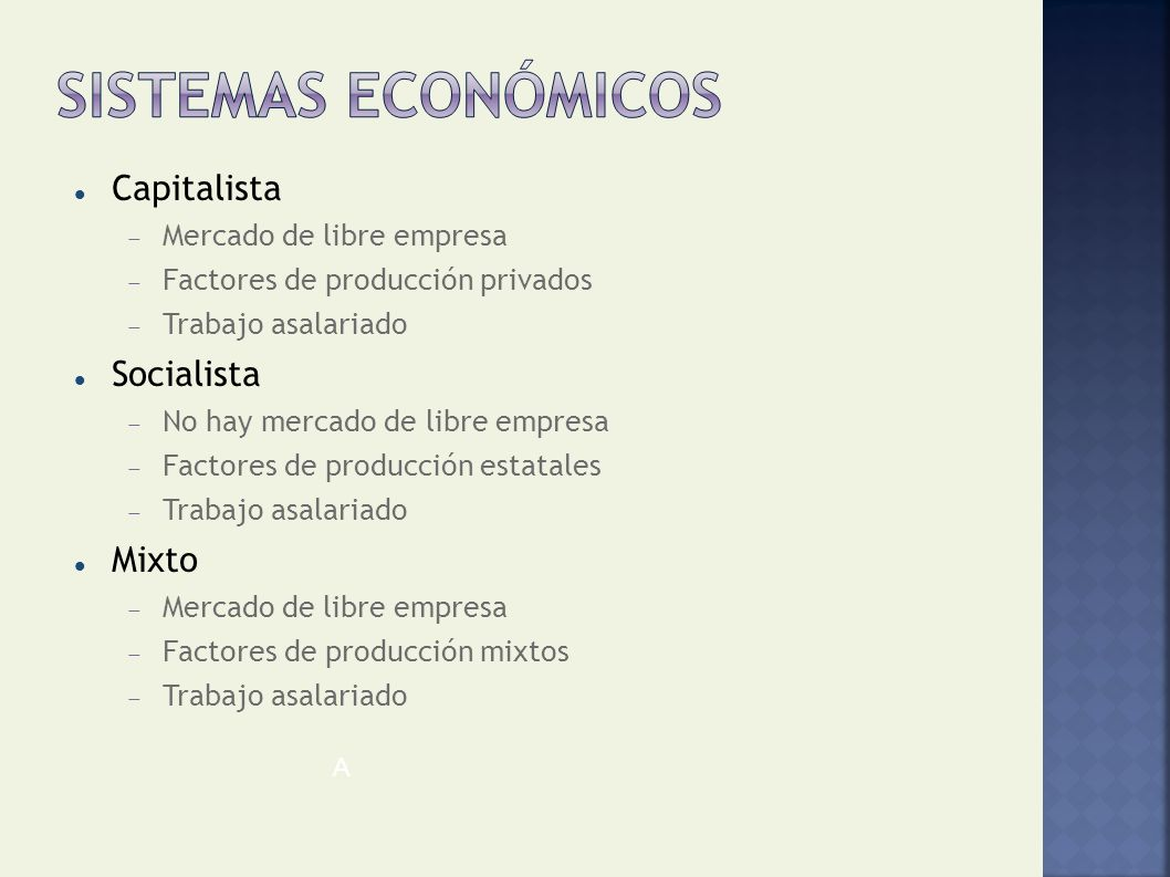 Sistemas económicos Capitalista Socialista Mixto
