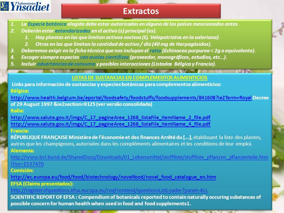 LISTAS DE SUSTANCIAS EN COMPLEMENTOS ALIMENTICIOS
